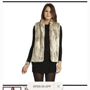 BCBG faux fur tan vest XS
